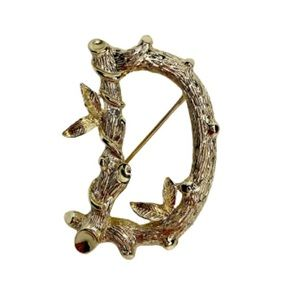 Sarah Coventry Letter D Tree Branch Gold Tn Brooch